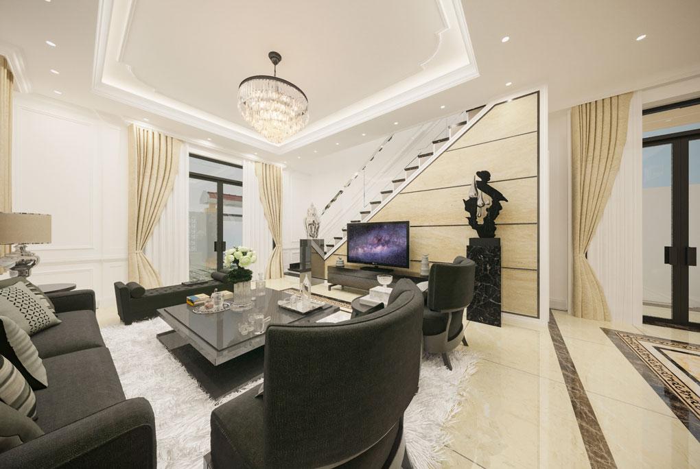 Thiết kế phòng khách nhà biệt thự.