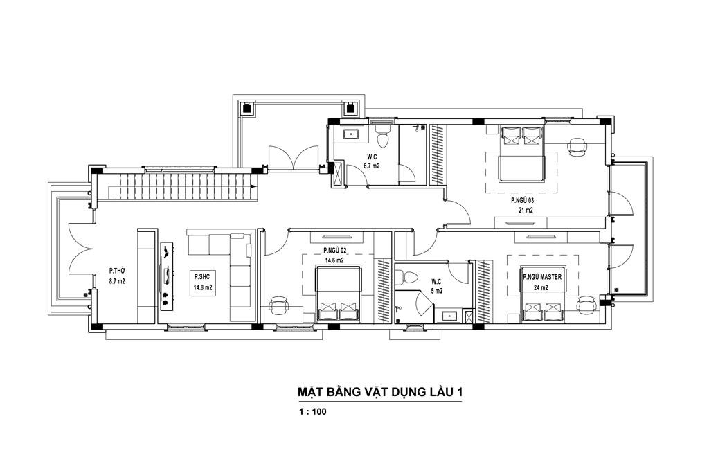 Thiết kế tầng 2 nhà biệt thự 2 tầng tân cổ điển.